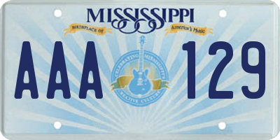 MS license plate AAA129