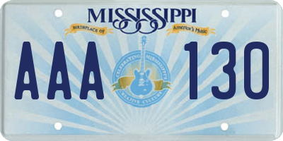 MS license plate AAA130