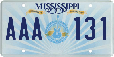 MS license plate AAA131