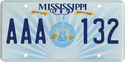 MS license plate AAA132