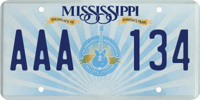 MS license plate AAA134