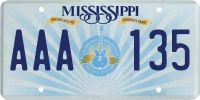 MS license plate AAA135