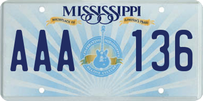 MS license plate AAA136