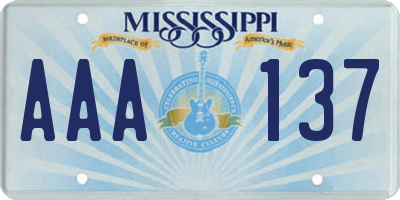 MS license plate AAA137
