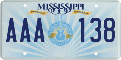 MS license plate AAA138