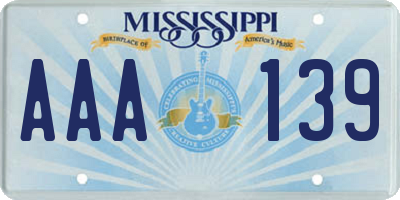 MS license plate AAA139