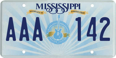 MS license plate AAA142