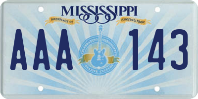 MS license plate AAA143