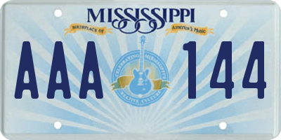 MS license plate AAA144