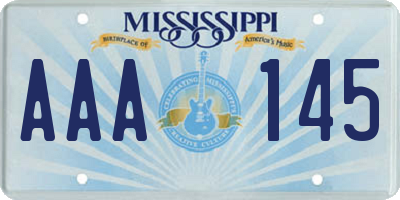 MS license plate AAA145
