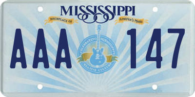 MS license plate AAA147