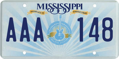 MS license plate AAA148