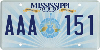 MS license plate AAA151