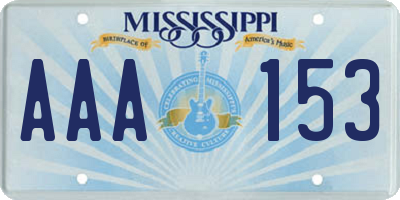 MS license plate AAA153