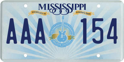 MS license plate AAA154