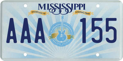 MS license plate AAA155