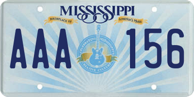 MS license plate AAA156
