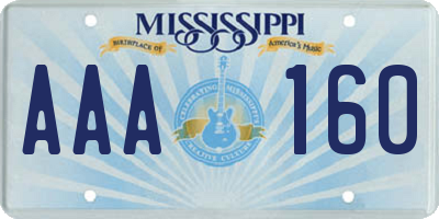 MS license plate AAA160