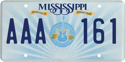 MS license plate AAA161