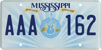 MS license plate AAA162