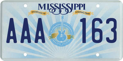MS license plate AAA163