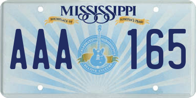 MS license plate AAA165