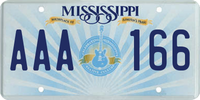 MS license plate AAA166