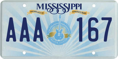 MS license plate AAA167