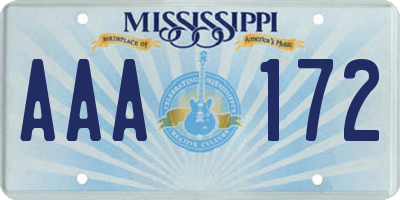 MS license plate AAA172