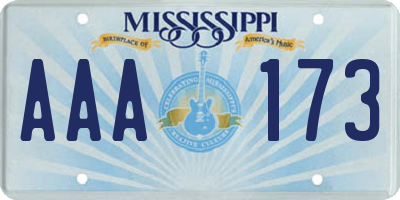 MS license plate AAA173
