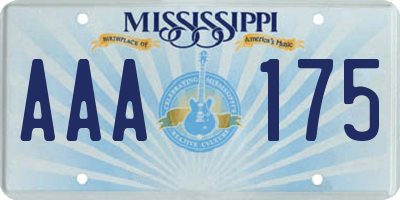 MS license plate AAA175