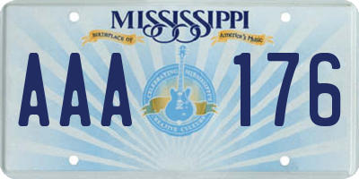 MS license plate AAA176