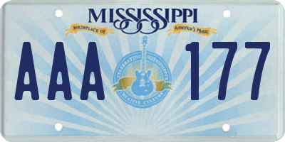 MS license plate AAA177