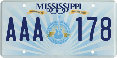 MS license plate AAA178