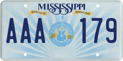 MS license plate AAA179