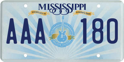 MS license plate AAA180