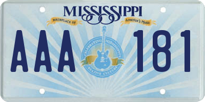 MS license plate AAA181