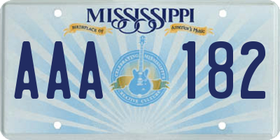 MS license plate AAA182