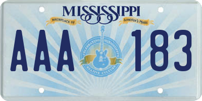 MS license plate AAA183