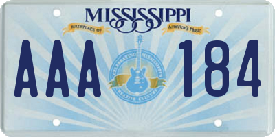 MS license plate AAA184