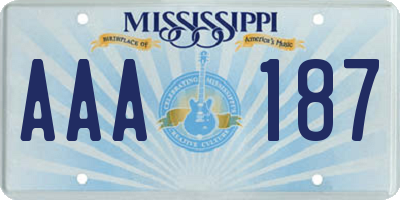 MS license plate AAA187