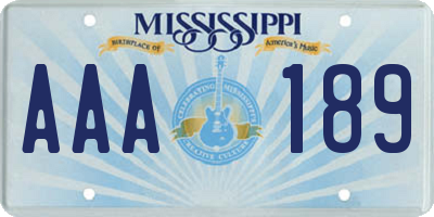 MS license plate AAA189