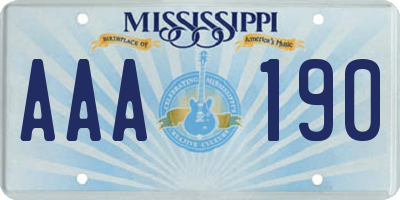 MS license plate AAA190