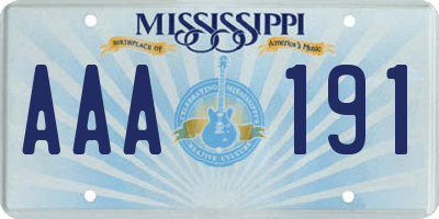 MS license plate AAA191