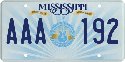 MS license plate AAA192