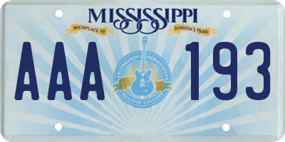 MS license plate AAA193