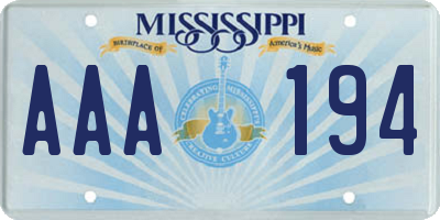 MS license plate AAA194