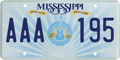 MS license plate AAA195