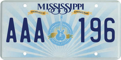MS license plate AAA196