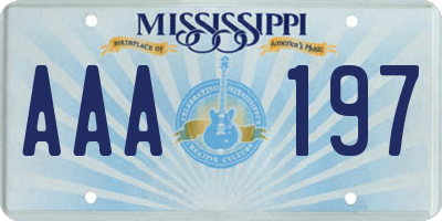 MS license plate AAA197